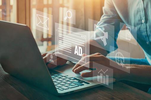 Digital Marketing Concept, Online Advertisement, Ad On Website And Social Media